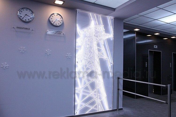 Акриловая интерьерная вывеска для холла энергетической компании. Интерьерная вывеска