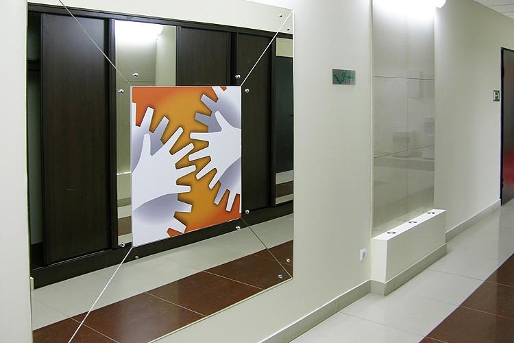 Панно для офисного коридора. Материалы – ПВХ, зеркальный пластик