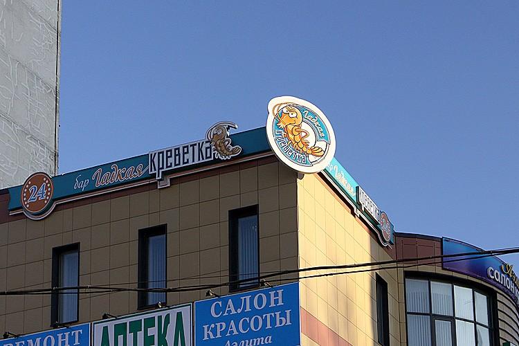 Световая фасадная вывеска с накладными элементами для бара-ресторана