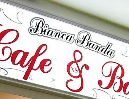 Реклама и вывеска для кафе «Bianca Banda XS»