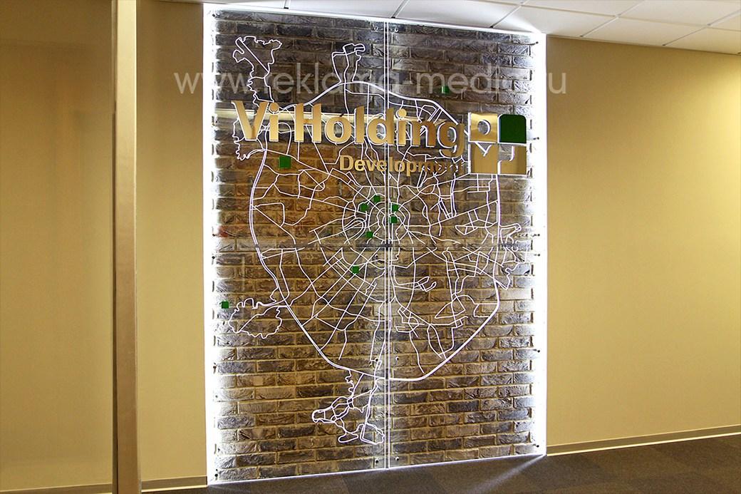 Интерьерная акриловая карта Москвы вывеска в холле компании