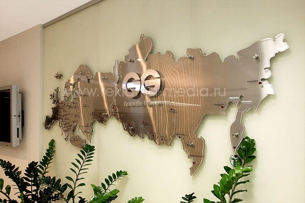 Вывеска в офис для кабинета руководителя световая акриловая карта России