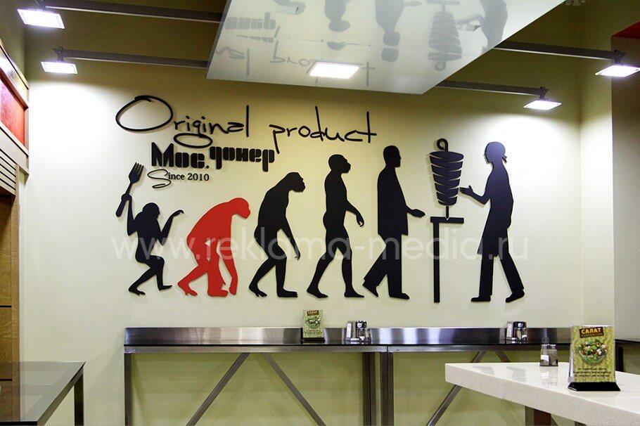 Общий вид настенной инсталляции для кафе
