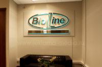 Внутренняя офисная вывеска в виде объемного логотипа выполненного из металла