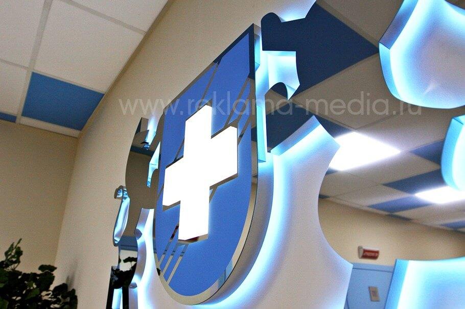 Ближний план знака для медицинского знака при виде справа