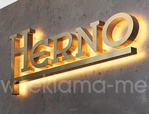 Металлические объемные буквы для оформления интерьера бутика одежды «Herno»