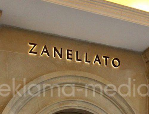 Вывеска для бутика брендовых аксессуаров «Zanellato» в ТЦ Крокус Сити Молл