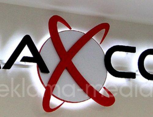 Светодиодные объемные буквы, вывеска для офиса компании «MAXCOM»