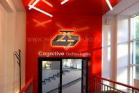 Фронтальный вид малой вывески для офиса компании Cognitive Technologies